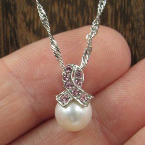 """18"""" Sterling Breast Cancer Pearl & CZ Necklace"""